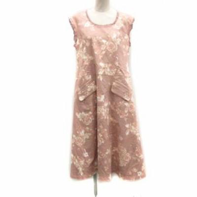 【中古】ピンクハウス ベルエポック ロゼプリント ワンピース ロング ミモレ ノースリーブ 花柄 ピンク レディース