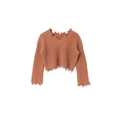[センスオブプレイス] ニット セーター 【WEB/一部店舗限定】2WAYダメージショートセーター レディース AA14-22L012 RE