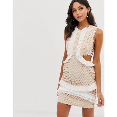 エイソス ASOS DESIGN レディース ワンピース ワンピース・ドレス mini dress with in lace with frill trim Blush and white