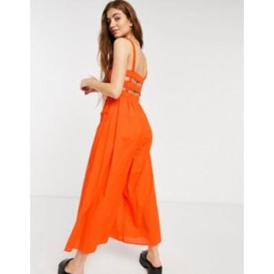 エイソス レディース ワンピース トップス ASOS DESIGN shirred elastic back jumpsuit in tomato red Tomato red