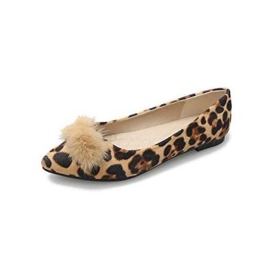 [W.L.M] レディース フラット シューズ ポインテッドトゥ 靴 ローヒール パンプスぺたんこ スウェード (ベージュ 22.0 cm)