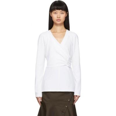 ティビ Tibi レディース ブラウス・シャツ トップス White Crepe Structured Shirred Blouse White