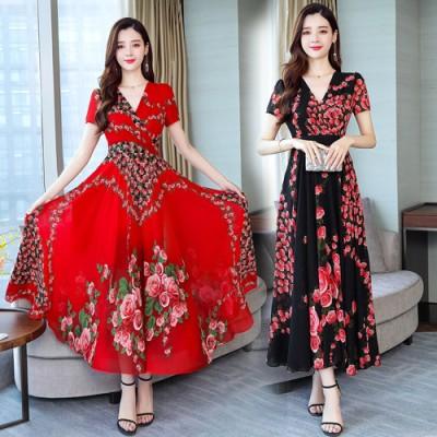 【韓国人気商品!!★超目玉★】2019新しいVネックのファッション、夏の半袖、快適な、長く、スリムなドレス、海辺での休暇、