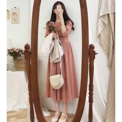 韓国 ファッション レディース ワンピース ロング 大きいサイズ フレア ハイウエスト Aライン 無地 七分袖 ゆったり レトロ 大人可愛い