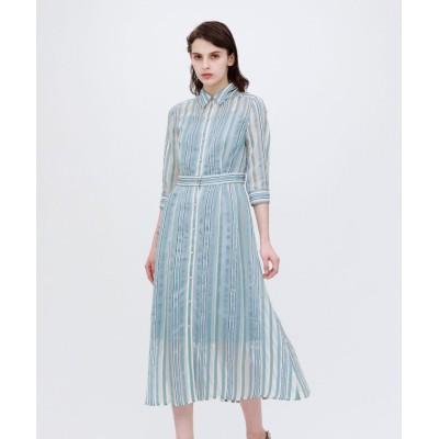 【ラブレス】 シアーストライプ ドレス レディース サックスブルー 38 LOVELESS