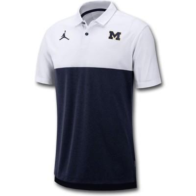 Jordan NCAA ポロシャツ ミシガン大学 ウルヴァリンズ Michigan Wolverines Polo 白紺 JP235