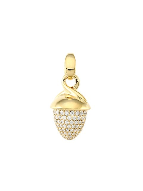 Mikado Bouquet 18K Yellow Gold & Diamond Pavé Acorn Pendant