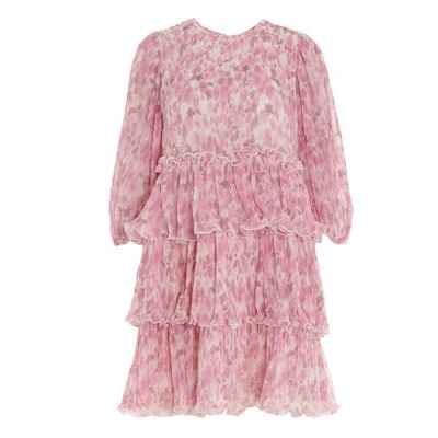 ガニー レディース ワンピース トップス Ganni Floral Printed Pleated Georgette Mini Dress -