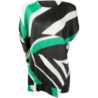 イッセイミヤケ ワンピース デイドレス レディース Pleats Please Issey Miyake pleated colour-block mini dress Black ,Green
