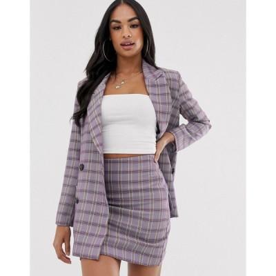 エイソス ジャケット レディース MIX & MATCHASOS DESIGN suit blazer in purple check エイソス ASOS