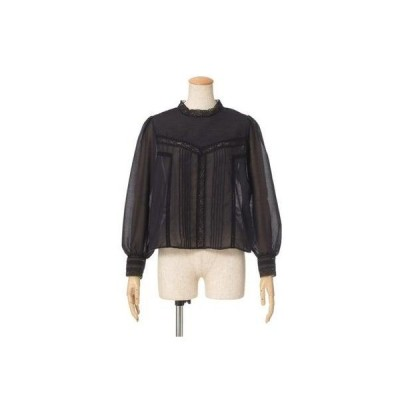 【an another angelus limited】ピンタックレース使いブラウス (BLACK)
