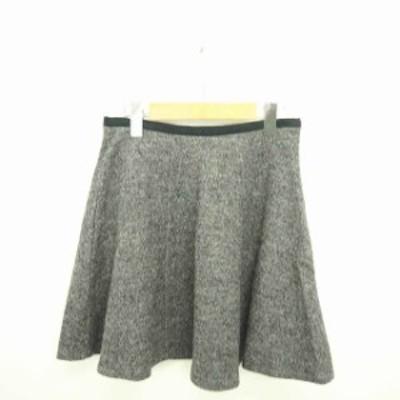 【中古】フレームワーク Framework スカート フレア ミニ サイドジップ ウール 36 グレー ブラック 灰 黒 /TT30