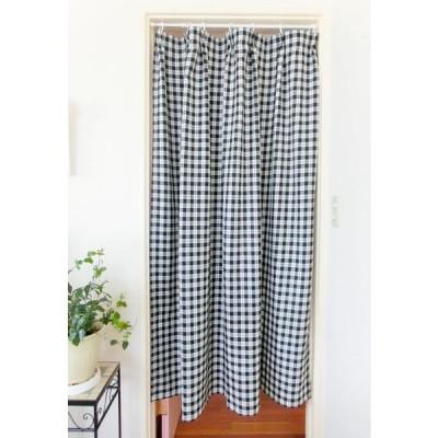 間仕切りカーテン ドアー白黒チェック 幅90cm×丈170cm
