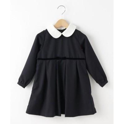(Dessin(kids)/デッサン キッズ)【110-120cm】付け衿ツイルワンピース/キッズ ネイビー(093)