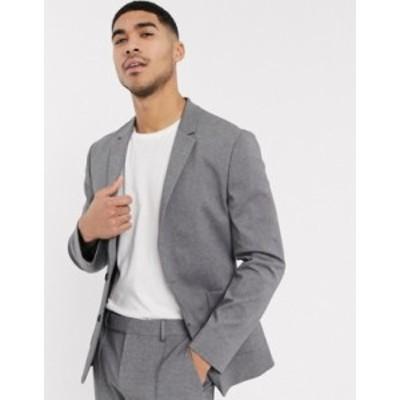 エイソス メンズ ジャケット・ブルゾン アウター ASOS DESIGN skinny suit jacket in gray jersey Grey