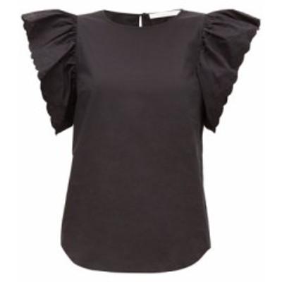 クロエ See By Chloe レディース ブラウス・シャツ トップス Scalloped-sleeve cotton-poplin blouse Black