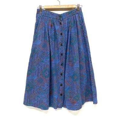 KORET CITY BLUES 総柄 幾何学模様 膝下丈 タック デニムスカート ポケット付き レディースW29 古着