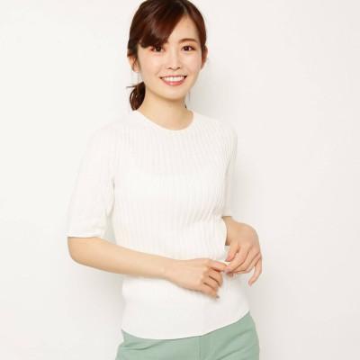 スマートピンク smart pink 【手洗い可】五分袖ワイドリブコットンニット (オフホワイト)