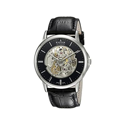 Edox Men's Les Bemonts Stainless Steel Swiss-Automatic Watch with Leather S