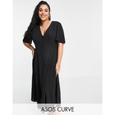 エイソス レディース ワンピース トップス ASOS DESIGN Curve button through tie back midi tea dress with angel sleeve in black Blac