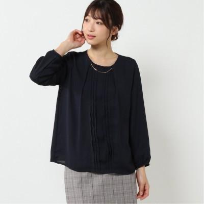 裏地起毛プリーツ切替ネックレス付きプルオーバー【M―5L】