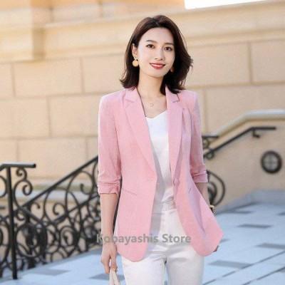 7分袖ジャケットレディーステーラードジャケット夏ホワイトベージュピンク20代30代通勤OLスーツコートサマージャケット