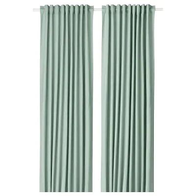 IKEA イケア カーテン1組 145x250cm グリーン n20428015 TIBAST