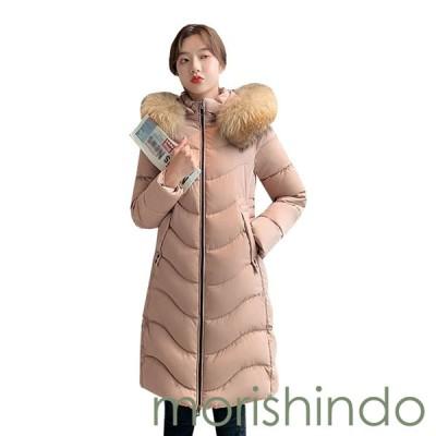 レディース ロングコート ダウンジャケット 中綿 ファーフード付き 厚手 防寒 防風 暖かい 大きいサイズ 修身 体型カバー おしゃれ
