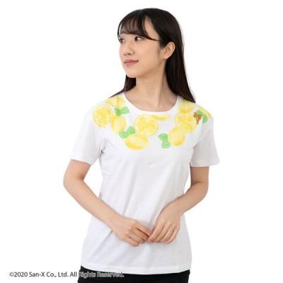 リラックマ 半袖 Tシャツ キャラクターTシャツ レモン プリント 刺繍
