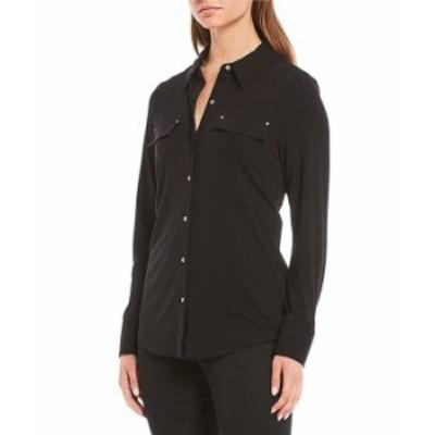 カルバンクライン レディース Tシャツ トップス Long Sleeve Button-Front Knit Shirt Black