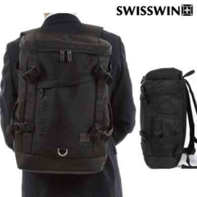 SWISSWIN SW2064 リュック リュックサック ビジネスリュック メンズ 旅行バッグ スイスウィン スクエア ブラック 撥水 PC対応 大容量 通