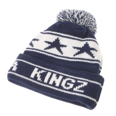 キングズ KINGZ ★ニットキャップ(星×ロゴ) (ネイビー)