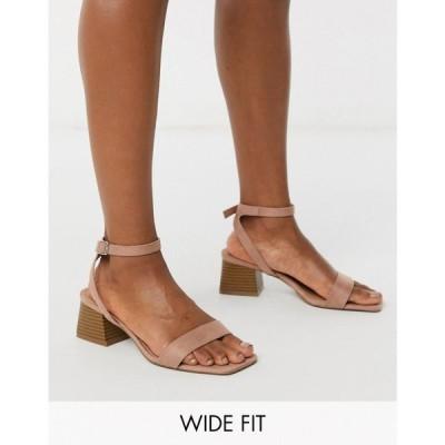 エイソス ASOS DESIGN レディース サンダル・ミュール シューズ・靴 Wide Fit Hocco block heeled sandals in warm pink