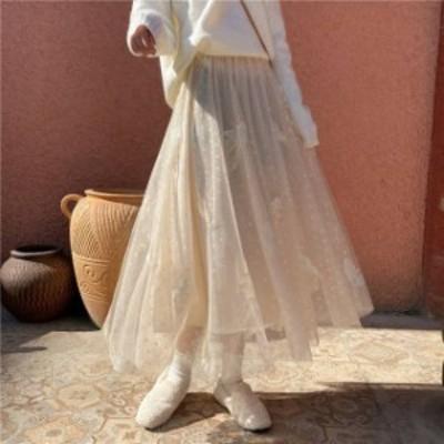 3色 チュールスカート ロング丈 ドット フェザー 羽根 ベージュ ホワイト ブラック フェミニン デート レディース ファッション 韓国