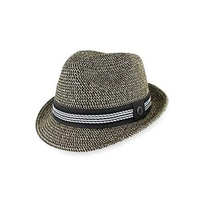 Men/Women Summer Straw Trilby Fedora Hat in Blue, Tan, Black (Large, Black)