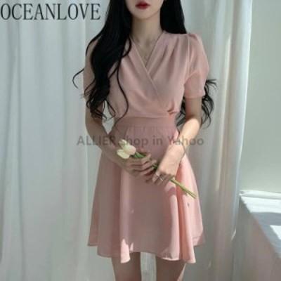 レディースファッション OCEANLOVE InsシフォンVestidosソリッドエレガントな韓国ファッションVネックハイウエスト