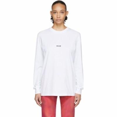 エムエスジーエム MSGM レディース 長袖Tシャツ トップス White Micro Logo Long Sleeve T-Shirt White