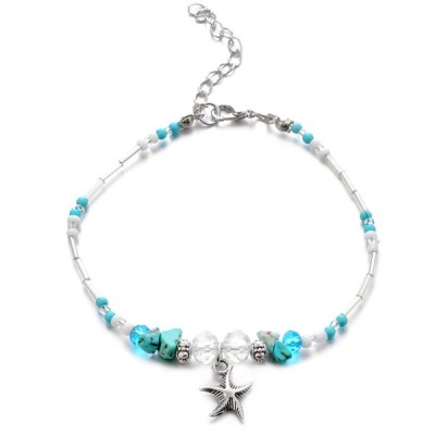 CanB Starfish Anklet Bracelet Beach Anklets Turquoise Foot Chain Fashi