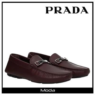 プラダ ローファー メンズ PRADA 靴 バイオレット ロゴ モカシン