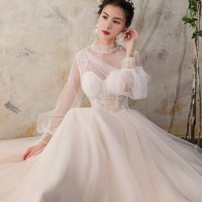 ウエディングドレス aライン Aラインドレス 白 レース ボレル 安い ウェディングドレス 花嫁 結婚式  パーティードレス 二次会 ブライダル ロングドレス