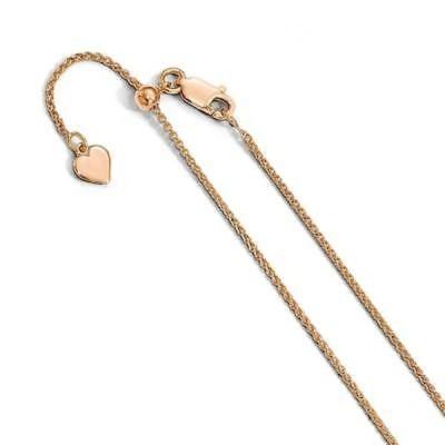 ストーンのついていない貴金属 海外セレクション Sterling Silver 1.2 mm Rose Gold-plated Adjustable Spiga Chain, by Versil