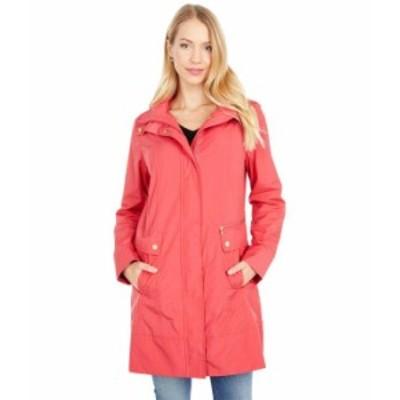 """コールハーン レディース コート アウター 34 1/2"""" Single Breasted Rain Jacket with Removable Hood Red"""