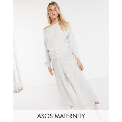 エイソス ASOS Maternity レディース オールインワン ジャンプスーツ マタニティウェア Maternity Lounge Jersey Slouchy Off Shoulder Jumpsuit In Grey Rib