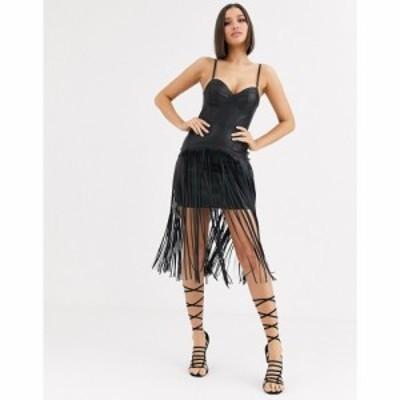エイソス ASOS DESIGN レディース ワンピース キャミワンピ ワンピース・ドレス Premium Fringe Pu Corset Detail Cami Midi Dress ブラ