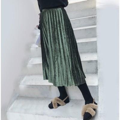 ベロア ベロアスカート ロングスカート プリーツ レディース プリーツスカート レギンス付き スカート ベロア素材 スカート ブラック カーキ 2色