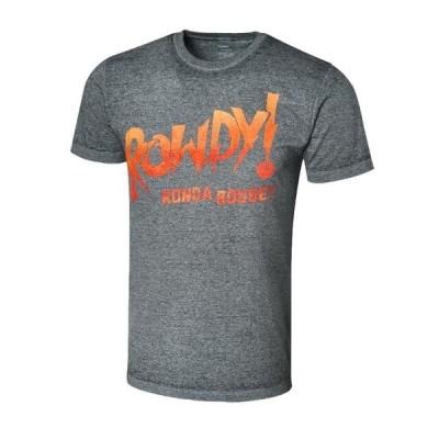 ユニセックス スポーツリーグ プロレス Official WWE Authentic Ronda Rousey Rowdy Ronda Acid Wash T-Shirt Black Small 衣類