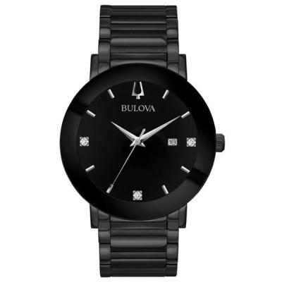 ブロバ メンズ 腕時計 アクセサリー Men's Futuro Diamond-Accent Black Stainless Steel Bracelet Watch 42mm