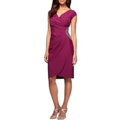 アレックスイブニングス レディース ワンピース トップス Petite Size Beaded Bodice Cap Sleeve Sheath Dress Passion