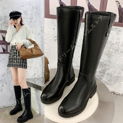 レディース ブーツ ロング 筒周り ゆったり 太ヒール ジョッキーブーツ 大きいサイズ 歩きやすい ロングブーツ ふくらはき カジュアルシューズ 長靴 美脚
