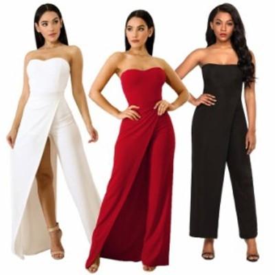 結婚式 オールインワン 白即納 パンツドレス パーティードレス セクシー 4552 ロングドレス みたいな ジャンプスーツ ベアトップ 黒 赤